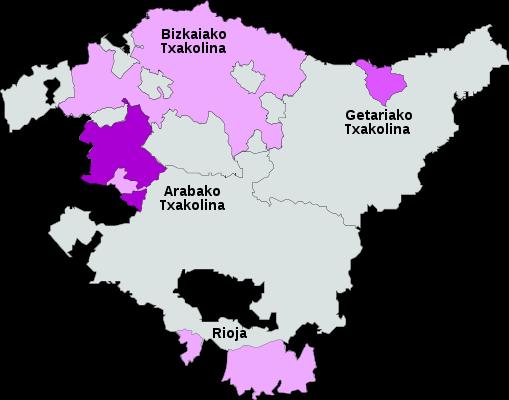 Mapa Txakoli: Denominacion Origen de Euskadi
