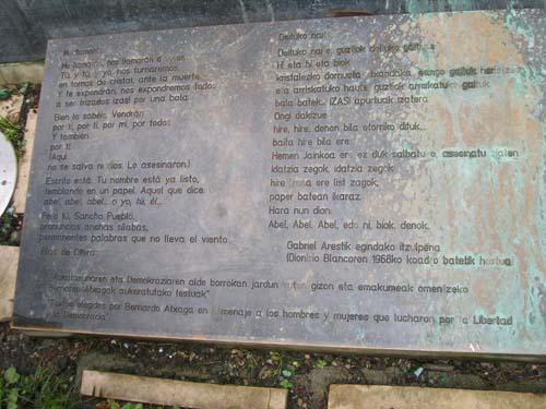 Parque Doña Casilda - Detalle de la inscripción (Victimas del Franquismo)