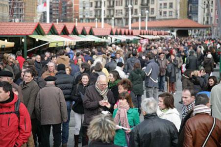 Mercado o Feria de Santo Tomás en Bilbao